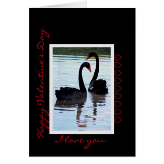 Happy Valentine s Day Black Swans Greeting Cards
