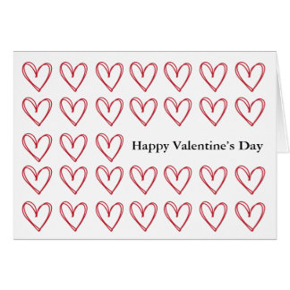 Happy Valentine's Day Card with Red Hearts