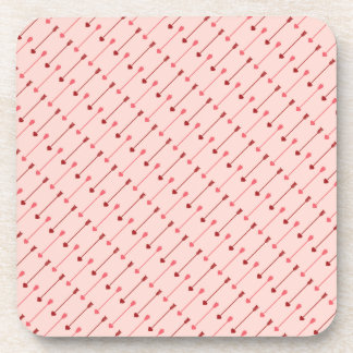 Happy Valentine s Day Cupid s Arrows Pink Red Beverage Coasters
