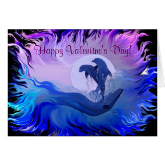 Happy Valentine s Day - Dolphins in the moonlight Card