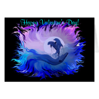 Happy Valentine s Day - Dolphins in the moonlight Greeting Card