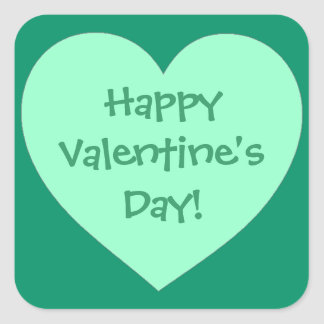 Happy Valentine s Day green heart stickers