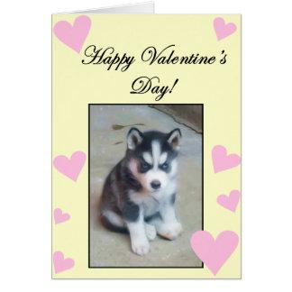 Happy Valentine s Day Siberian Husky Puppy card