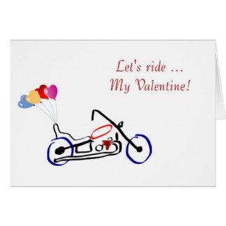 Happy Valentine s Day with motorbike for biker Cards