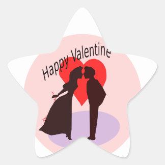 Happy Valentine silhouette of a couple in love Star Sticker