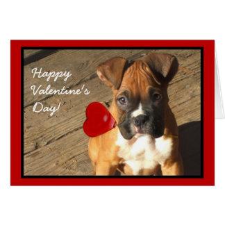 Happy Valentine's Boxer puppy greeting card