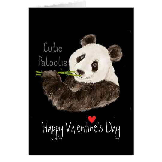 Happy Valentine's Cutie Patootie Fun Panda Bear Card