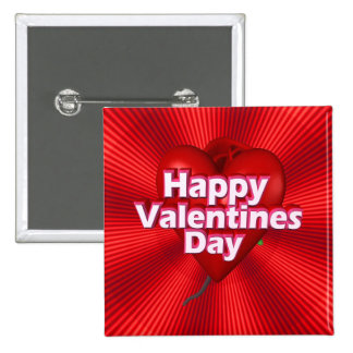 Happy Valentines Day 15 Cm Square Badge