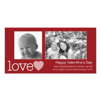 Happy Valentines Day - 2 photos - horizontal Customised Photo Card
