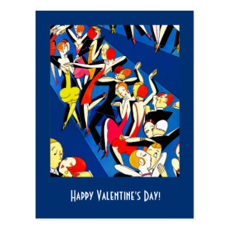 Happy Valentine's Day. Art Deco Design Postcards