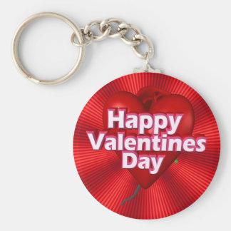 Happy Valentines Day Basic Round Button Key Ring