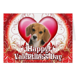 Happy Valentines Day Beagle Greeting Card