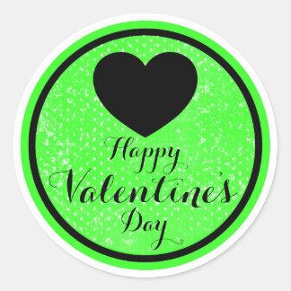 Happy Valentines Day black green sticker labels Round Sticker