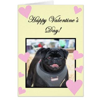 Happy Valentine's Day Black Pug greeting card