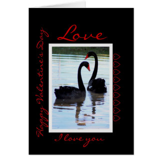 Happy Valentine's Day Black Swans Greeting Card
