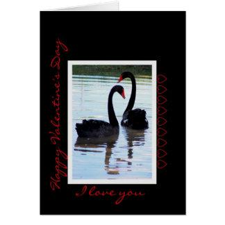 Happy Valentine's Day Black Swans Greeting Card
