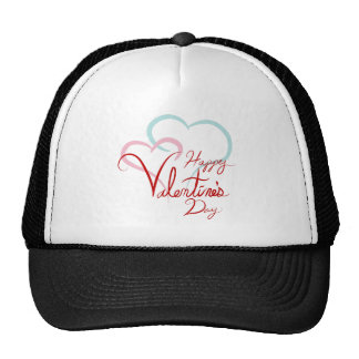 Happy Valentines Day Blue Pink Joined Hearts Cap