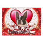 Happy Valentines Day Boston Terrier Greeting Card