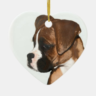 Happy Valentine's Day boxer dog ornament