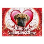 Happy Valentines Day Bull Mastiff Greeting Card