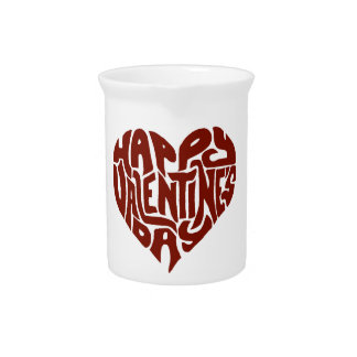 Happy Valentines Day Custom Gift Typography Heart Drink Pitchers
