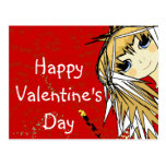 Happy Valentine's Day- Cute Girl Postcards
