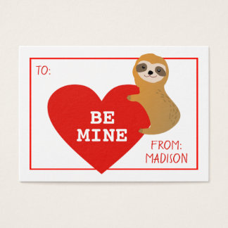 Happy Valentine's Day | Cute Heart Sloth Business Card