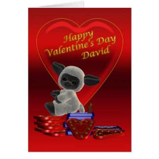 Happy Valentine's Day cute little sheep on chocola Greeting Card