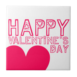 Happy Valentine's day Cute typography Tile