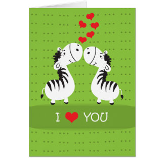 Happy Valentines Day cute zebras with hearts Greeting Card