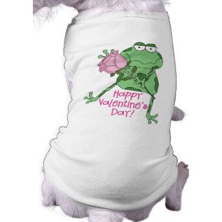 Happy Valentine's Day Frog Sleeveless Dog Shirt