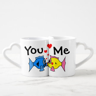 Happy Valentines Day Funny Fishes Coffee Mug Set