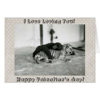 Happy Valentines Day Funny Monkey and Tiger Hug Greeting Card