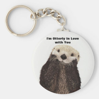 Happy Valentines Day Funny Otter Basic Round Button Key Ring