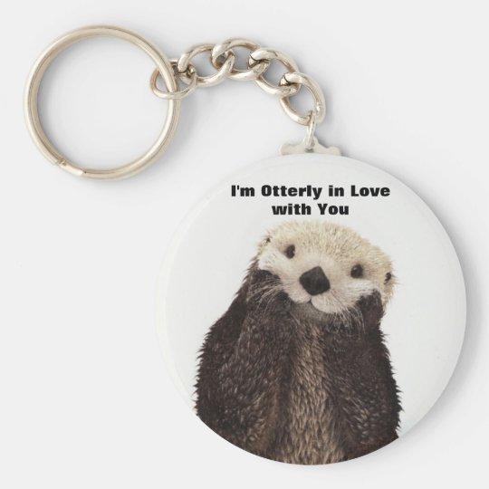 Happy Valentines Day Funny Otter Basic Round Button Key Ring