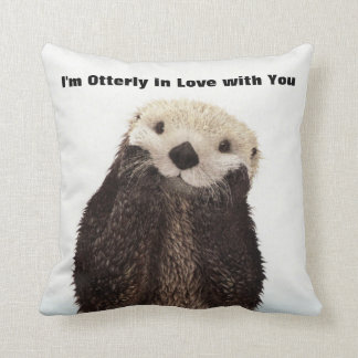 Happy Valentines Day Funny Otter Cushion