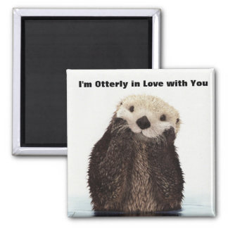 Happy Valentines Day Funny Otter Square Magnet