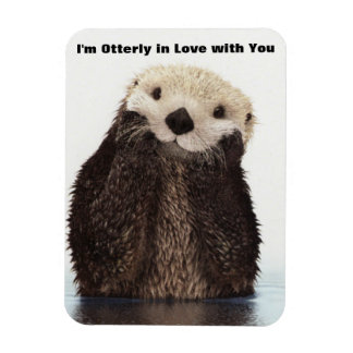Happy Valentines Day Funny Otter Rectangle Magnet