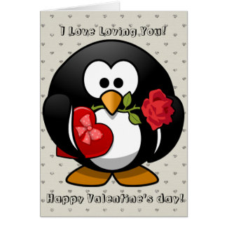 Happy Valentines Day Funny Penguin Rose Cartoon Greeting Card