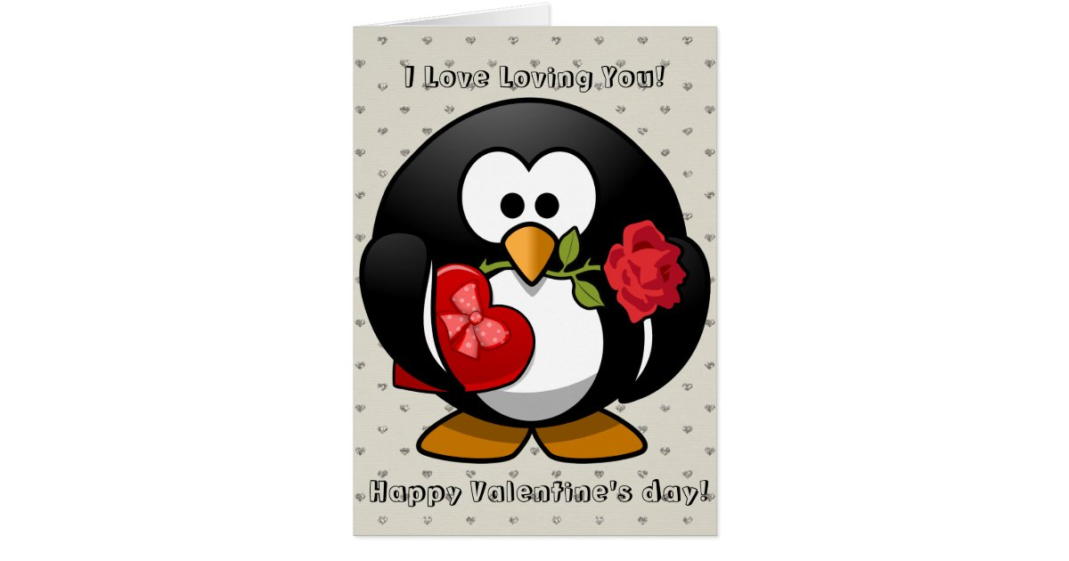 Happy Valentines Day Funny Penguin Rose Cartoon Greeting Card | Zazzle