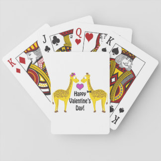 Happy Valentine's Day Giraffes Playing Cards