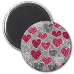 Happy Valentine's Day Glitter Love Bling Hearts 6 Cm Round Magnet