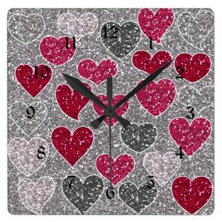 Happy Valentine's Day Glitter Love Bling Hearts Wall Clock