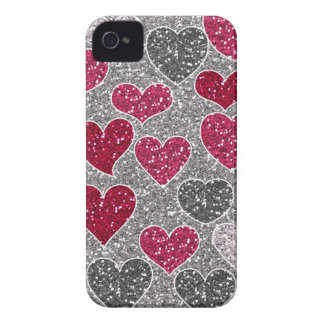 Happy Valentine's Day Glitter Love Bling Hearts iPhone 4 Case