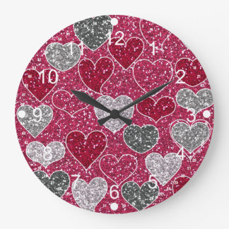 Happy Valentine's Day Glitter Love Bling Hearts Wall Clock