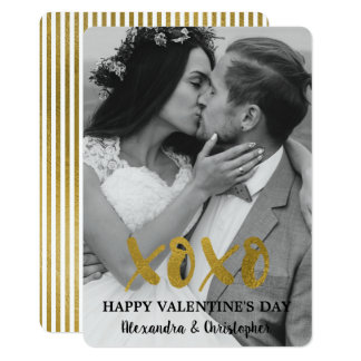 Happy Valentine's' Day Gold Foil Simple Photo Card