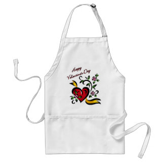 Happy Valentine's Day Heart and Flowers Abstract Adult Apron