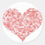 Happy Valentine's Day Heart Round Stickers