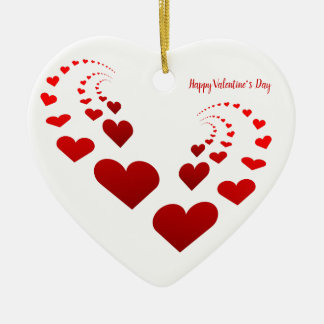 Happy Valentine's Day Hearts Christmas Ornament