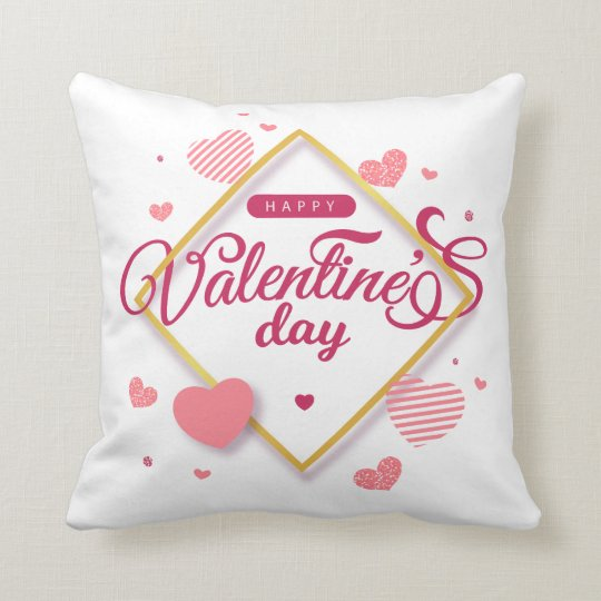Happy Valentine's Day Hearts Frame Throw Pillow